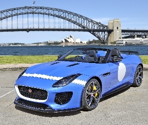 Project 7, Jaguar, Niebieski, Tło, Sydney, Most, Rozmyte, F-type