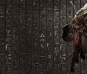 Assassins Creed Origins, Hieroglify, Ściana, Bayek