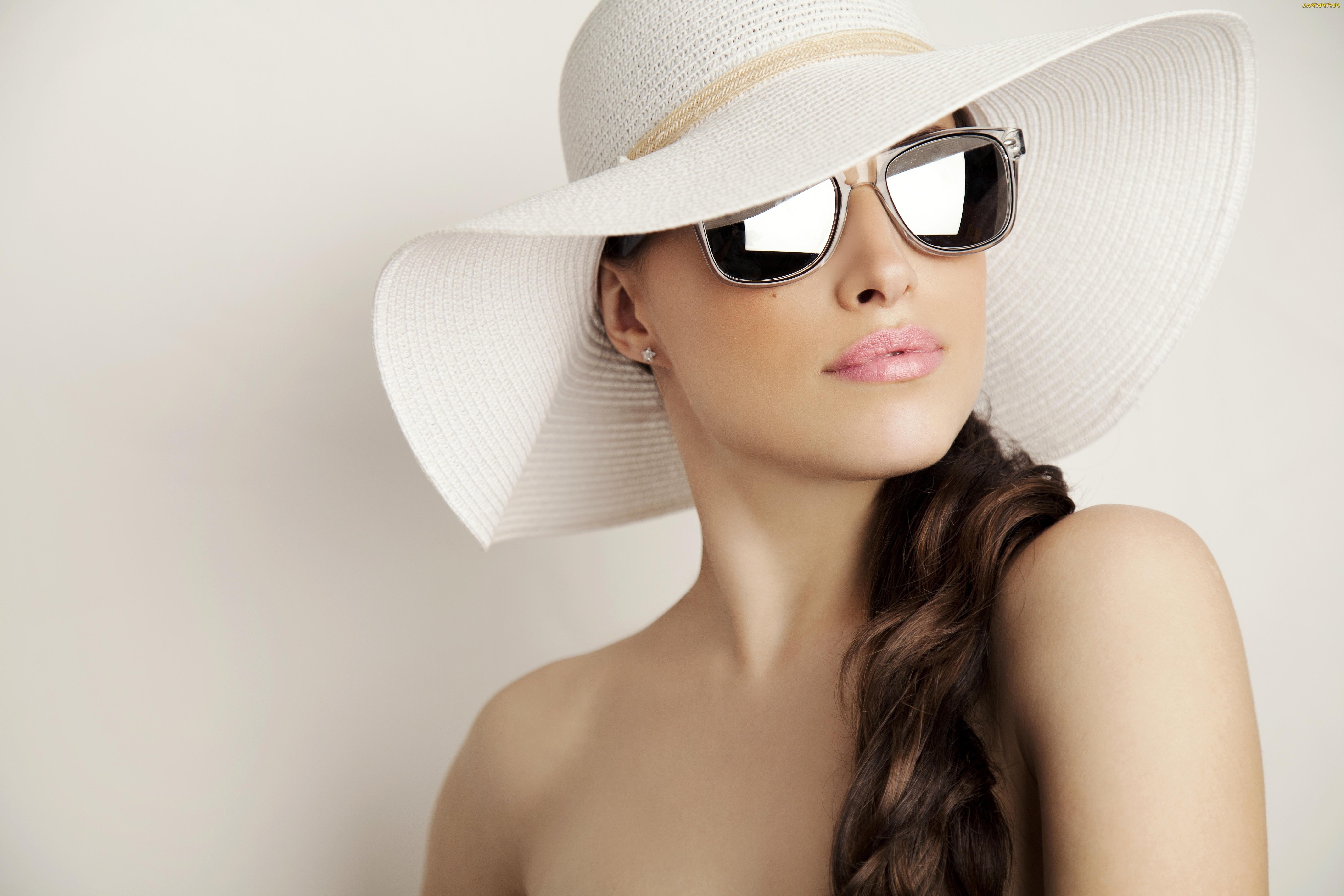 tapety, zdjęcia - kobieta, okulary, kapelusz, twarz
