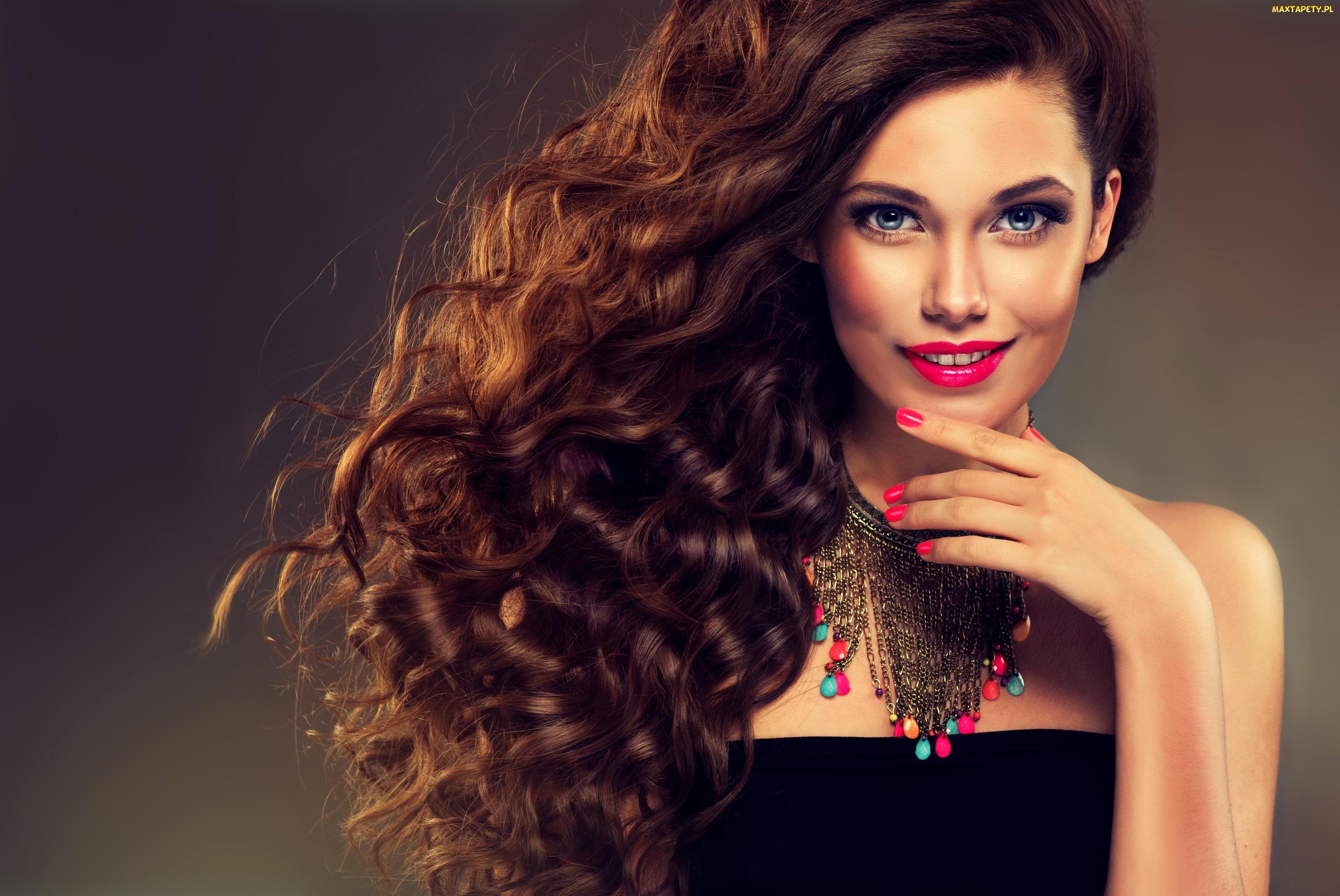 tapety, zdjęcia - kobieta, naszyjnik, włosy, makijaż, długie