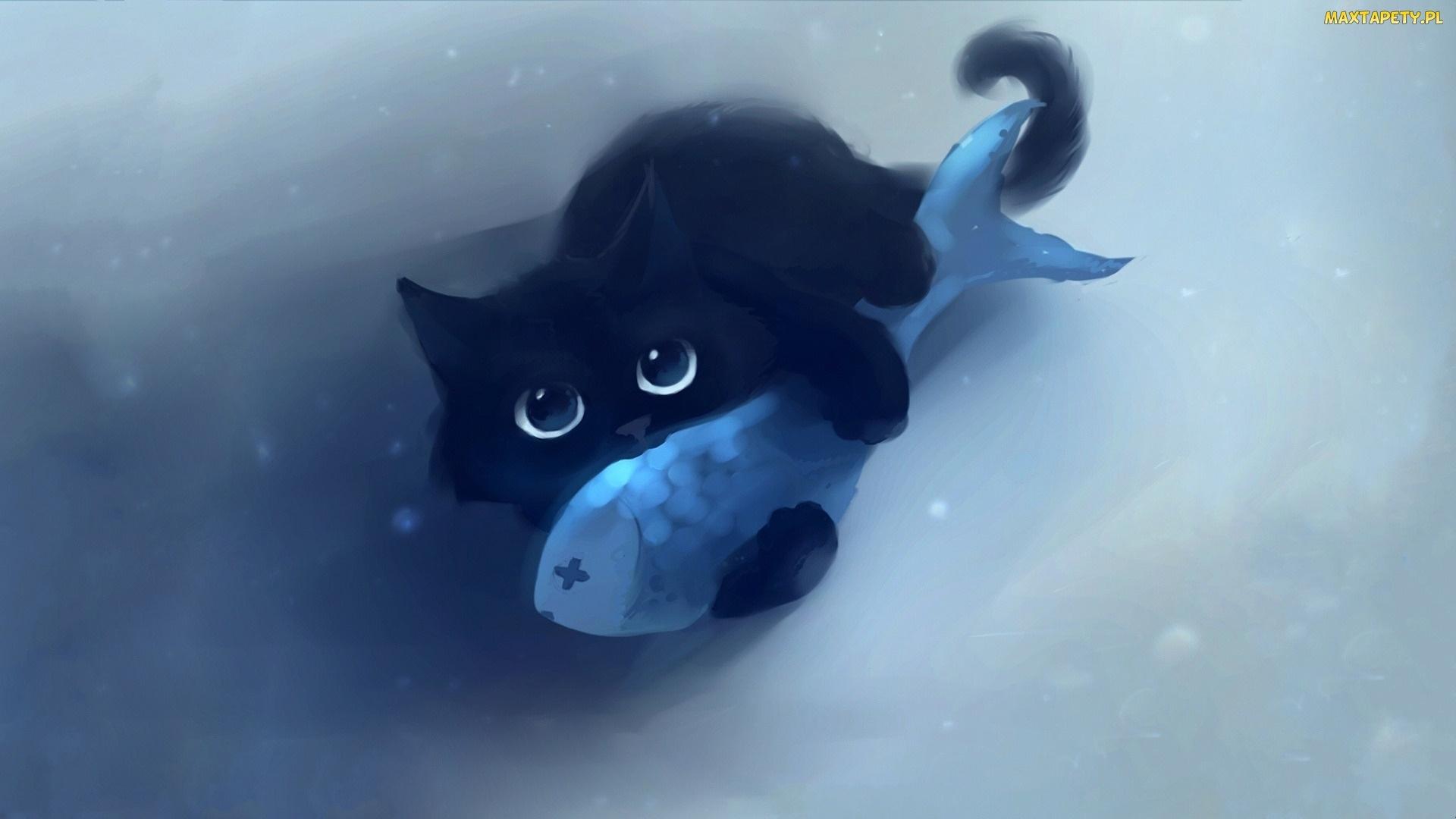 Tapety Zdjęcia Czarny Ryba Kot